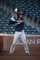 AZL Brewers center fielder Micah Bello (3) on deck during an Arizona League game against the AZL Cubs 1 at Sloan Park on June 29, 2018 in Mesa, Arizona. The AZL Cubs 1 defeated the AZL Brewers 7-1. (Zachary Lucy/Four Seam Images)