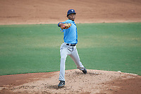 Tampa Bay Rays pitcher Cristopher Sanchez (70) delivers a pitch during an Instructional League game against the Baltimore Orioles on October 5, 2017 at Ed Smith Stadium in Sarasota, Florida.  (Mike Janes/Four Seam Images)