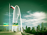 Texas flag with Dallas' Mary Hunt bridge