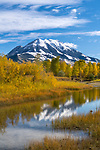Park County, MT: Calm waters of a small channel of the Yellowstone River in fall with Emigrant Peak reflecting