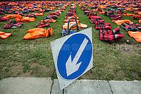 "19.09.2016 - ""Lifejacket Graveyard"" in London's Parliament Square #UN4RefugeesMigrants"