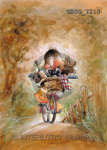 Ron, CUTE ANIMALS, Quacker, paintings, duck, bike(GBSG7210,#AC#) Enten, patos, illustrations, pinturas