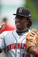 Indianapolis Indians first baseman Josh Bell (18) after a game against the Rochester Red Wings on May 26, 2016 at Frontier Field in Rochester, New York.  Indianapolis defeated Rochester 5-2.  (Mike Janes/Four Seam Images)