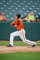 Bowie Baysox second baseman Corban Joseph (5) hits an RBI single during the first game of a doubleheader against the Trenton Thunder on June 13, 2018 at Prince George's Stadium in Bowie, Maryland.  Trenton defeated Bowie 4-3.  (Mike Janes/Four Seam Images)
