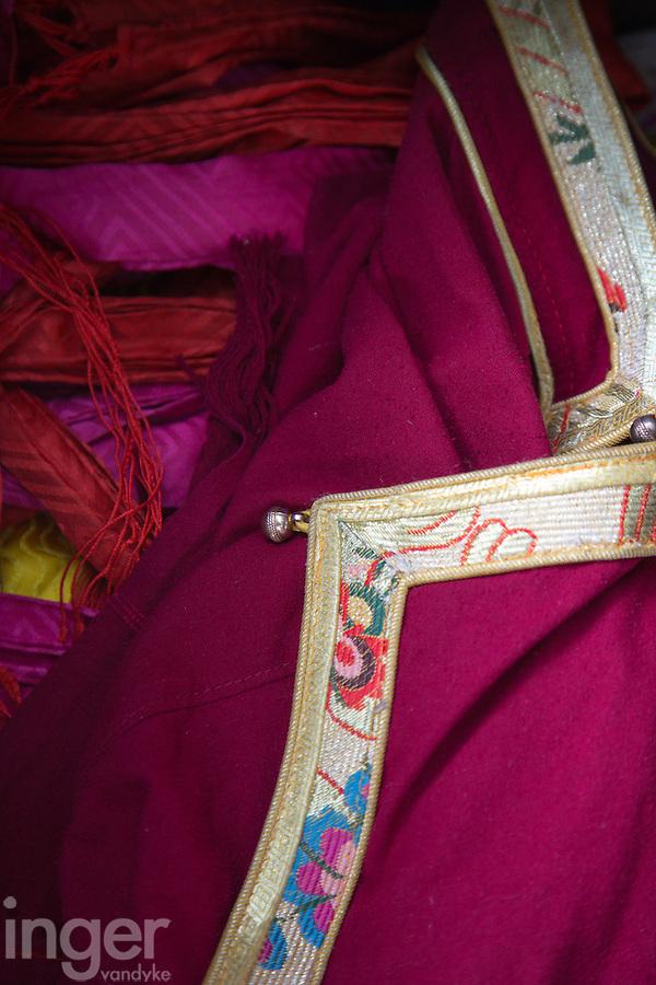 Brocades and ribbons for sale at Norbulingka, Tibet