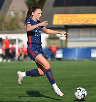 Jill Janssens (7) of OH Leuven pictured during a female soccer game between SV Zulte - Waregem and Oud Heverlee Leuven on the sixth matchday of the 2021 - 2022 season of Belgian Scooore Womens Super League , saturday 9 of October 2021  in Zulte , Belgium . PHOTO SPORTPIX | DIRK VUYLSTEKE