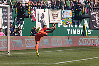 Portland, Oregon - Sunday October 6, 2019: Daniel Vega #17 saves a shot during a regular season match between Portland Timbers and San Jose Earthquakes at Providence Park in Portland, Oregon.