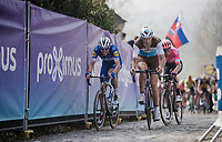 Stijn VANDENBERGH (BEL/AG2R-LaMondiale),Kasper ASGREEN (DEN/Deceuninck-Quick Step) & Sep Vanmarcke (BEL/EF Education First) on top of the Paterberg<br /> <br /> 103rd Ronde van Vlaanderen 2019<br /> One day race from Antwerp to Oudenaarde (BEL/270km)<br /> <br /> ©kramon