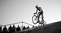 The Flying Dutchman Mathieu Van der Poel (NLD/BKCP-Powerplus) getting airborne while leading the race<br /> <br /> CX Leuven Soudal Classic 2015