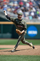 Vanderbilt Commodores pitcher Drake Fellows (66) delivers a pitch to the plate during Game 3 of the NCAA College World Series against the Louisville Cardinals on June 16, 2019 at TD Ameritrade Park in Omaha, Nebraska. Vanderbilt defeated Louisville 3-1. (Andrew Woolley/Four Seam Images)