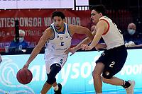 06-03-2021: Basketbal: Donar Groningen v ZZ Feyenoord: Groningen Donar speler Leon Williams  met Latinovic