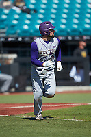 Luke Robinson (38) of the Western Carolina Catamounts hustles down the first base line against the Kennesaw State Owls at Springs Brooks Stadium on February 22, 2020 in Conway, South Carolina. The Owls defeated the Catamounts 12-0.  (Brian Westerholt/Four Seam Images)