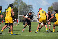 NZ's Vaiolini Ekunasi in action during the rugby union match between New Zealand Schools and Australia Under-18s at St Paul's Collegiate in Hamilton, New Zealand on Friday, 4 October 2019. Photo: Dave Lintott / lintottphoto.co.nz