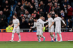 Real Madrid's players celebrate goal during Copa del Rey match between Real Madrid and Girona FC at Santiago Bernabeu Stadium in Madrid, Spain. January 24, 2019. (ALTERPHOTOS/A. Perez Meca)
