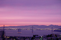 City; dawn; Bay Bridge; dawn; Telegraph Hill. San Francisco California.
