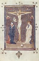 Missal of Sant Cugat del Vallès. s.XV. Crucified Christ. Catalan school. Gothic art. Miniature Painting. SPAIN. Barcelona. Roy
