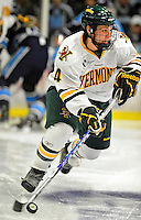 30 October 2010: University of Vermont Catamount defenseman Nick Bruneteau, a Freshman from Omaha, NE, in action against the University of Maine Black Bears at Gutterson Fieldhouse in Burlington, Vermont. The Black Bears defeated the Catamounts 3-2 in sudden death overtime. Mandatory Credit: Ed Wolfstein Photo