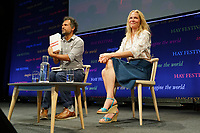 Pictured: Asne Seierstad (R) talks to Sarfraz Manzoor.<br /> Re: Hay Festival at Hay on Wye, Powys, Wales, UK. Saturday 02 June 2018