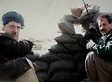 Iraq 2014, November 26, on the front near Kirkouk, left, Hama Haji Mahmoud and Kemal Kirkuki  Irak 2014  Le 26 novembre, sur le front pres de Kirkouk, a gauche Hama Haji Mahmoud et Kemal Kirkouki