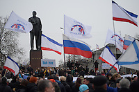 Pro-russian demonstrators in waive Russian flags under the Lenin statue.  Simferopol, Crimea, Ukraine