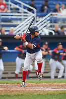 Lowell Spinners designated hitter Frankie Rios (15) at bat during a game against the Batavia Muckdogs on July 12, 2017 at Dwyer Stadium in Batavia, New York.  Batavia defeated Lowell 7-2.  (Mike Janes/Four Seam Images)