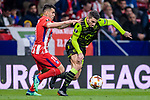 Cristiano Piccini of Sporting CP (R) fights for the ball with Angel Correa of Atletico de Madrid (L) during the UEFA Europa League quarter final leg one match between Atletico Madrid and Sporting CP at Wanda Metropolitano on April 5, 2018 in Madrid, Spain. Photo by Diego Souto / Power Sport Images