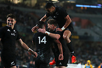 NZ's Will Jordan celebrates his try during the Bledisloe Cup rugby match between the New Zealand All Blacks and Australia Wallabies at Eden Park in Auckland, New Zealand on Saturday, 14 August 2021. Photo: Simon Watts / lintottphoto.co.nz / bwmedia.co.nz