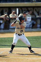 Chris Lanzilli (24) of the Wake Forest Demon Deacons at bat against the Virginia Cavaliers at David F. Couch Ballpark on May 19, 2018 in  Winston-Salem, North Carolina. The Demon Deacons defeated the Cavaliers 18-12. (Brian Westerholt/Four Seam Images)