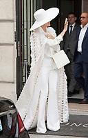 July 12 2017, PARIS FRANCE Singer Celine Dion leaves the Royal Monceau Hotel on<br /> Avenue Hoche # CELINE DION TOUT EN BLANC QUITTE SON HOTEL