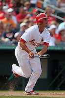 St Louis Cardinals third baseman Matt Carpenter #62 at bat during a spring training game against the Detroit Tigers at Roger Dean Stadium on March 28, 2012 in Jupiter, Florida.  Cardinals defeated the Tigers 9-5.  (Mike Janes/Four Seam Images)