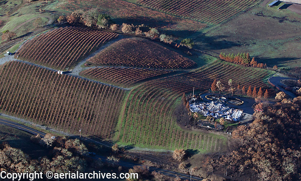 The home is consumed by the Tubbs Fire while the vineyard survives. Sonoma County, California, northern California wildfires, 2017.