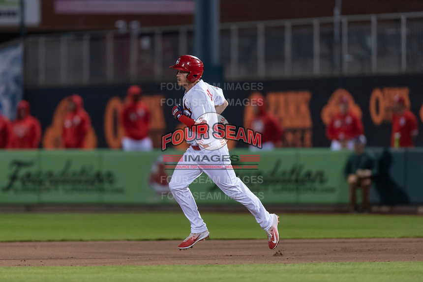 Springfield Cardinals right fielder Conner Capel (12) rounds the bases after hitting a home run during a Texas League game against the Amarillo Sod Poodles on April 25, 2019 at Hammons Field in Springfield, Missouri. Springfield defeated Amarillo 8-0. (Zachary Lucy/Four Seam Images)