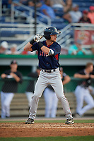 Lowell Spinners Wil Dalton (18) at bat during a NY-Penn League game against the Batavia Muckdogs on July 10, 2019 at Dwyer Stadium in Batavia, New York.  Batavia defeated Lowell 8-6.  (Mike Janes/Four Seam Images)