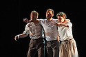 """London, UK. 15.04.2014. HeadSpaceDance present IF PLAY IS PLAY..., a triple bill of new work, in the Linbury Studio, Royal Opera House, London. Picture shows: Clemmie Sveaas, Christopher Akrill and Jonathan Goddard, in """"Before the Interval"""" by Luca Silvestrini.  Photograph © Jane Hobson."""