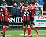 Forfar Athletic v St Johnstone....08.02.14   Scottish Cup 5th Round<br /> James Dunne celebrates his goal with Lee Croft<br /> Picture by Graeme Hart.<br /> Copyright Perthshire Picture Agency<br /> Tel: 01738 623350  Mobile: 07990 594431