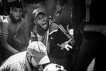 GAZA CITY, GAZA : A demonstrator is shouting on the medic as one of his friend got badly injured on his leg on May 14, 2018 in Gaza City, Gaza. Israeli soldiers killed at least 60 Palestinians and wounded over a thousand as the demonstrations coincided with the controversial opening of the U.S. Embassy in Jerusalem.<br /> <br /> GAZA CITY, GAZA: Un manifestant crie sur l'infirmier alors qu'un de ses amis est grièvement blessé à la jambe le 14 mai 2018 dans la ville de Gaza, Gaza. Les soldats israéliens ont tué au moins 60 Palestiniens et en ont blessé plus d'un millier lors de manifestations qui coïncident avec l'ouverture controversée de l'ambassade des États-Unis à Jérusalem.