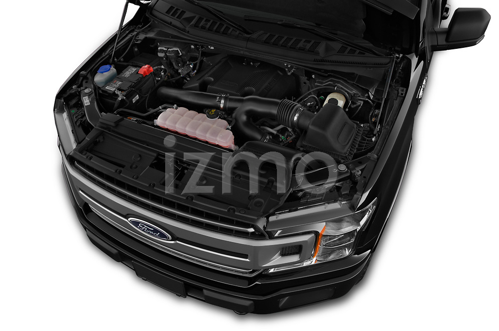 Car stock 2018 Ford F-150 XLT 4wd SuperCrew 4 Door Pick Up engine high angle detail view