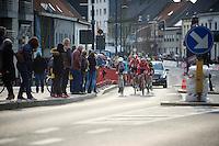 the breakaway group in the local laps of the finish town of Harelbeke<br /> <br /> 3-daagse van West-Vlaanderen 2016<br /> stage1: Bruges-Harelbeke 176km