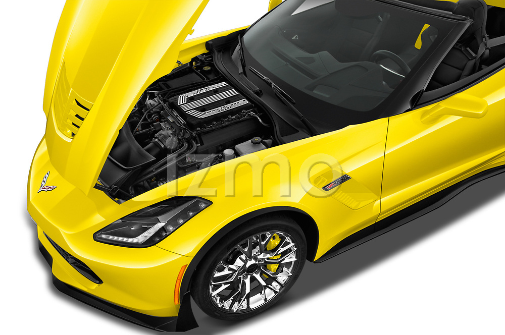 Car Stock 2018 Chevrolet Corvette Z06-3LZ 2 Door Convertible Engine  high angle detail view