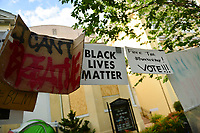 Washington, DC - June 15, 2020: Signs hang in front of St. John's Church in Washington, DC June 15, 2020 to call for police justice and reform in the wake of the police killing of George Floyd in Minnesota.  (Photo by Don Baxter/Media Images International)