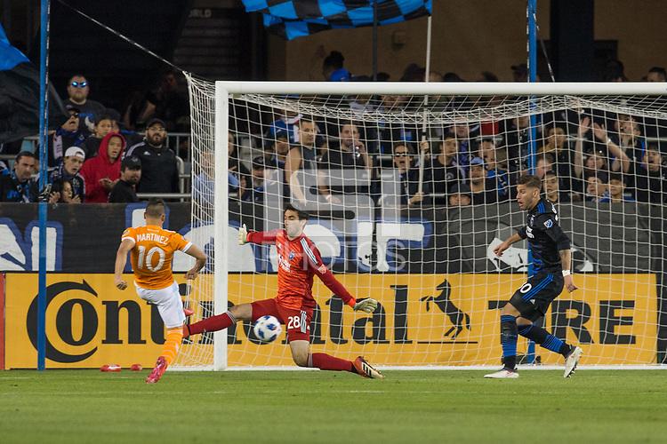 Santa Clara, CA - Saturday April 14, 2018: The San Jose Earthquakes and Houston Dynamo played to a 2-2 draw during a Major League Soccer game at the Avaya Stadium.