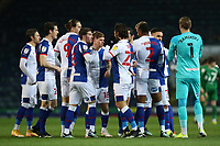 12th February 2021; Ewood Park, Blackburn, Lancashire, England; English Football League Championship Football, Blackburn Rovers versus Preston North End; the Blackburn players bump fists with each other prior to the kick off