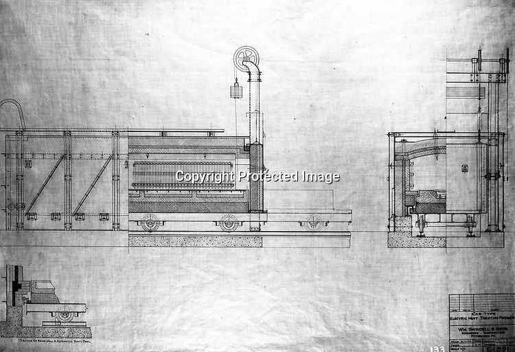"""Client: William Swindell & Brothers<br /> Ad Agency: George Ketchum Advertising<br /> Contact: George Ketchum<br /> Product: Electric Melting Furnace<br /> Location: Brady Stewart's office in Wilkinsburg <br /> <br /> View of William Swindell & Brothers engineering drawing of the Car type electric Heat Treating Furnace. For this client, Brady Stewart purchased an Eastman Kodak Mod. 2-D View Camera.  All the negatives in this gallery are 8""""x10"""" and still in great condition in 2020.<br /> <br /> Swindell Dressler International Company was based in Pittsburgh, Pennsylvania. The company was founded by Phillip Dressler in 1915 as American Dressler Tunnel Kilns, Inc.  In 1930, American Dressler Tunnel Kilns, Inc. merged with William Swindell and Brothers to form Swindell-Dressler Corporation. The Swindell brothers designed, built, and repaired metallurgical furnaces for the steel and aluminum industries. The new company offered extensive heat-treating capabilities to heavy industry worldwide."""