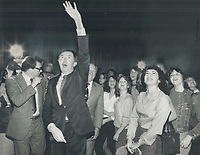 1981 FILE PHOTO - ARCHIVES -<br /> <br /> 1981 FILE - <br /> <br /> Conservative Leader Joe Clark waves to students as he walks through the auditorium at Cedarbrae Collegiate in Scarborough. Clark addressed the students yesterday before speaking to the Scarborough Rotary Club. Today he meets with Metro Conservatives.<br /> <br /> PHOTO : <br /> Bull, Ron<br /> <br /> PHOTO : Ron BULL - Toronto Star Archives - AQP