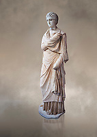 Statue of a female inj the Small Herculaneum Style, Athens Archaeological Museum, Cat no 242. Pentelic marble. <br /> <br /> Copy of earlier famous Greek statue dated 300 BC. The women is depicted wearing a full length chiton and a himation that covers her entire body.