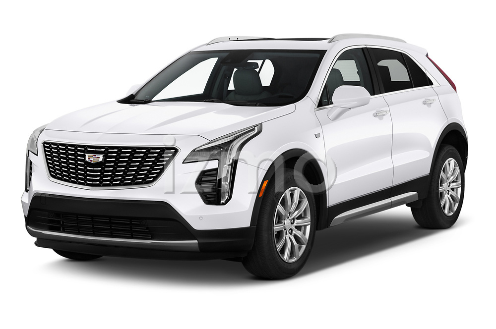 2020 Cadillac XT4 Premium Luxury 5 Door SUV angular front stock photos of front three quarter view