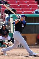 Chad Oberacker #2 of the Stockton Ports bats against the High Desert Mavericks at Stater Bros. Stadium on May 27, 2012 in Adelanto,California. High Desert defeated Stockton 6-5.(Larry Goren/Four Seam Images)