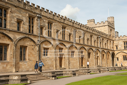 Christ's College, Oxford, England, 11 June 2014. Indigenous leader Raoni Metuktire wals to a meeting through the college quadrangle.