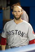 Boston Red Sox infielder Dustin Pedroia #15 before an American League game against the Toronto Blue Jays at Rogers Centre on June 3, 2012 in Toronto, Ontario.  (Mike Janes/Four Seam Images)