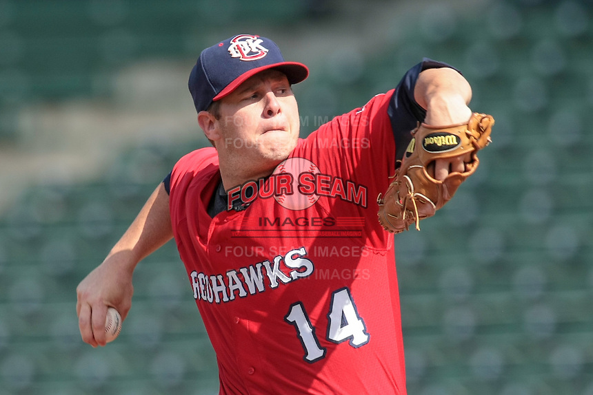 RedHawks pitcher Brad Peacock (14) on the mound during the Pacific Coast League game against the Omaha Storm Chasers at Chickashaw Bricktown Ballpark on June 23, 2013 in Oklahoma City ,Oklahoma.  (William Purnell/Four Seam Images)
